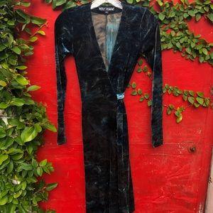 Vintage Betsey Johnson crushed velvet wrap dress